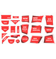 new arrival badges corners red labels for apparel vector image