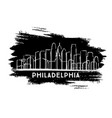 philadelphia city skyline silhouette hand drawn vector image vector image