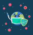 planet earth wearing a protection medical mask vector image vector image