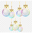 realistic transparent colored christmas balls on vector image vector image
