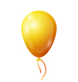 Realistic yellow balloon with ribbon isolated on vector image