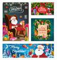 santa claus with christmas tree and xmas gifts vector image vector image