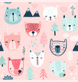seamless pattern with cute bears childish vector image
