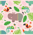 seamless pattern with cute jungle animals vector image