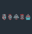 set of emblems cyclist on a mountain bike sport vector image