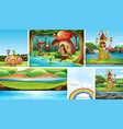 six different scene fantasy world with fantasy vector image vector image