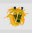sunflower oil realistic oil bottles gold vector image