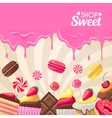 Sweet dessert food frame isolated on white vector image vector image