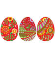 Three easter eggs vector image vector image