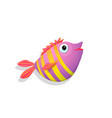 tropic happy smiling fish with stripes pink color vector image