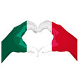 two palms make heart shape mexican flag vector image vector image