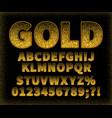 vintage gold sans serif font on a black background vector image