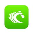 wave icon digital green vector image vector image