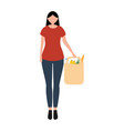 woman with food purchases flat design vector image