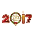Happy New Year 2017 Stylized figures 2017 vector image
