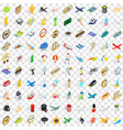 100 ball icons set isometric 3d style vector image vector image