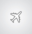 airplane outline symbol dark on white background vector image vector image