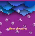 blue paper clouds with paper white snowflakes vector image
