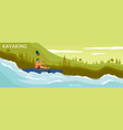 boat and sportsman character on river background vector image