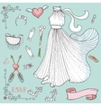 Bridal shower Dressaccessoriesdecor setVintage vector image