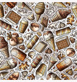 cartoon hand-drawn ice cream doodles seamless vector image vector image