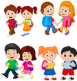 cartoon school children with backpacks vector image vector image