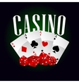 Casino dice and poker cards vector image vector image