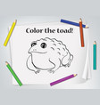 children toad coloring worksheet vector image vector image