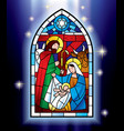 Christmas stained glass window vector image vector image