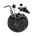 Coconut cocktail icon in black style isolated on vector image vector image