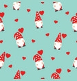cute valentines gnomes in red hats and hearts vector image vector image