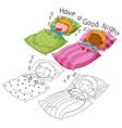 doodle boy and girl sleeping vector image vector image