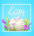 easter frame with eggs and flowers vector image