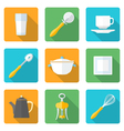 flat style design dinnerware icons set vector image