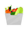 gray container with ripe vegetables natural and vector image vector image