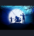 halloween demons against a moonlit sky vector image vector image