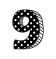 hand drawn number 9 with white polka dots on black vector image vector image