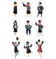 happy graduates set smiling graduation students vector image