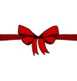 horizontal red ribbon and bow vector image