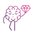 line brain kawaii with dimond icon vector image vector image