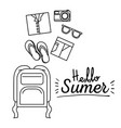 monochrome poster of hello summer with luggage of vector image