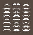 mustache set stylish look curly white vector image vector image