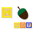 n is for nut vector image