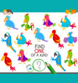 one a kind game with funny cartoon birds vector image vector image