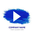 play icon - blue watercolor background vector image vector image