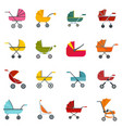 pram stroller carriage icons set flat style vector image vector image