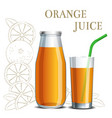 realistic orange juice in a jar and a glass vector image vector image