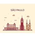 Sao Paulo skyline trendy linear style vector image vector image