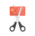scissors cutting credit card vector image vector image