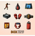 Set of boxing hand drawn color icons - gloves vector image